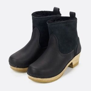 "No.6 5"" Pull on Shearling Clog Boot on Mid Heel"
